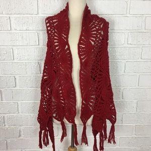 Handmade | Red Knit shawl